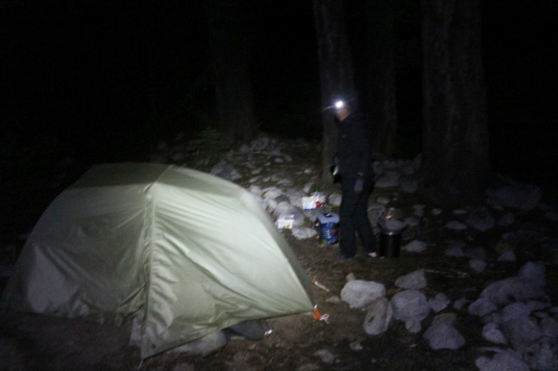 We woke up early and ate breakfast in the dark as we had many miles to hike that day down Kern Canyon
