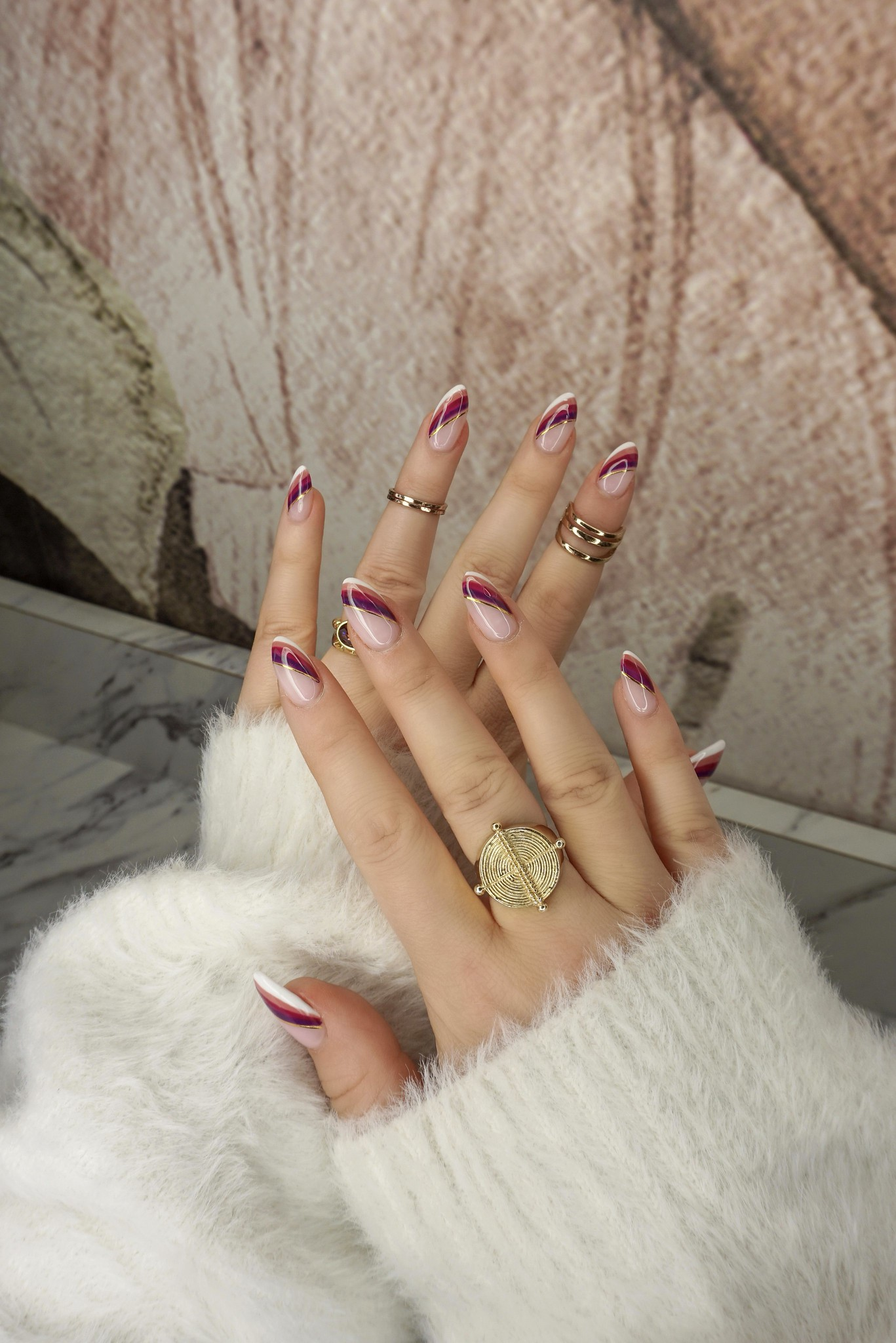 Fall French Twist Nails | Unique French Manicure | Fall Nails | Thanksgiving Nails | November Nails | Nail Ideas | Nail Art Inspiration | Nail Designs | Autumn Rainbow Mani | Gold Rings | Almond Shaped Nails