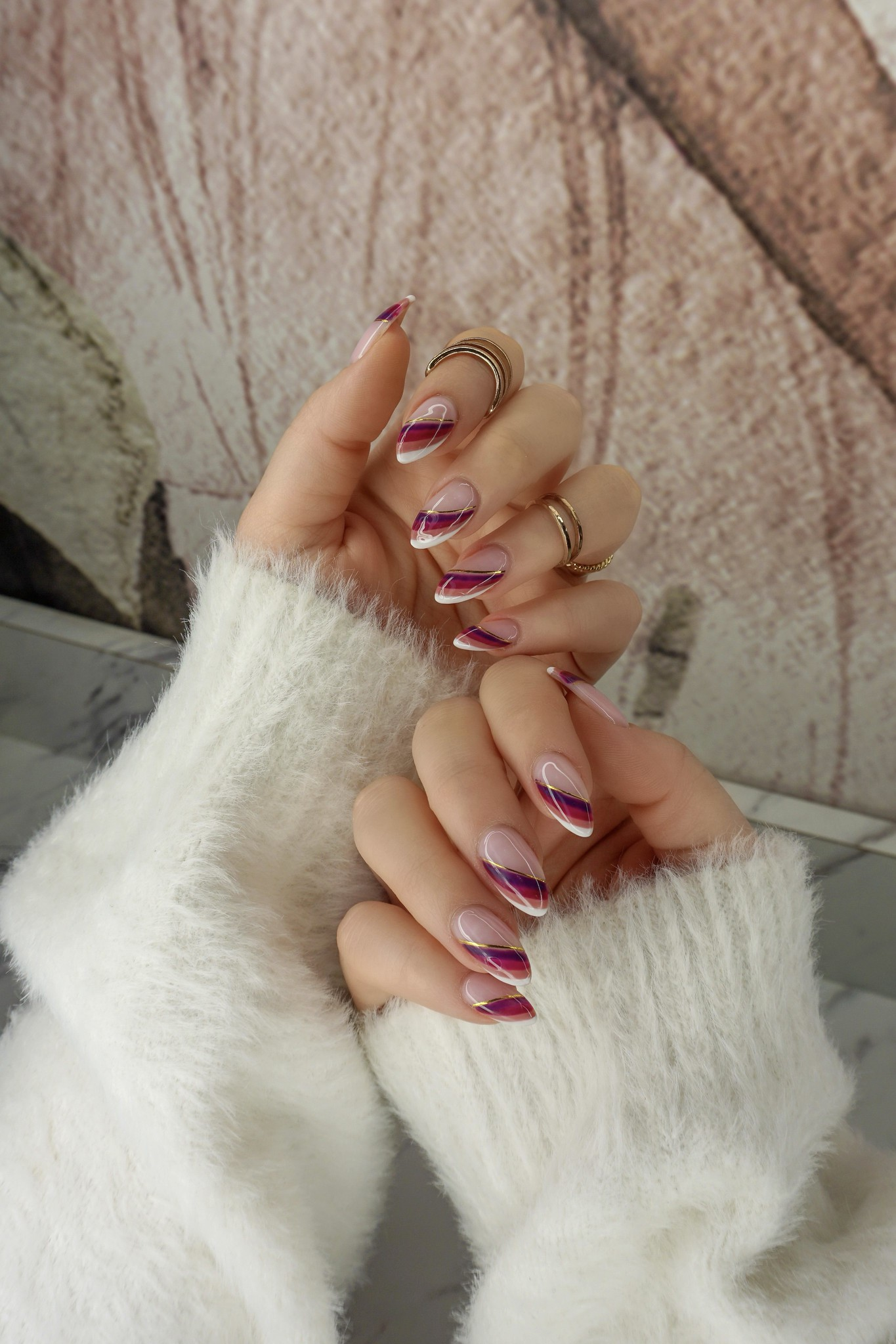 Fall French Twist Nails | Fall Rainbow Stripe Nails | Unique French Manicure | Fall Nails | Thanksgiving Nails | November Nails | Nail Ideas | Nail Art Inspiration | Nail Designs | Autumn Rainbow Mani | Gold Rings | Almond Shaped Nails