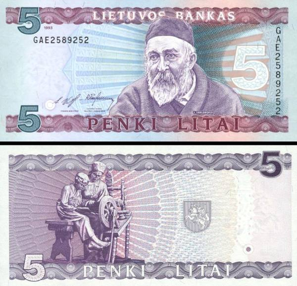 5 Litai Litva 1993 P55a