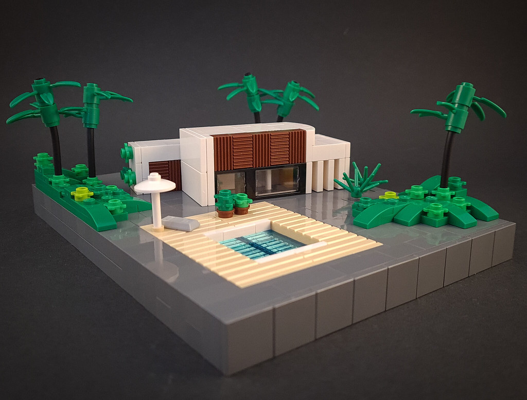 Walnut Villa MOC. House and pool. Microscale architecture.