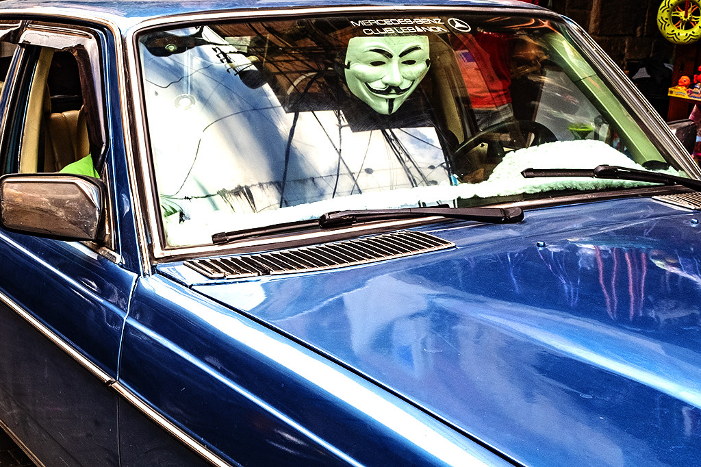 Guy Fawkes mask in old Mercedes Benz on 11-11-20--Sidon