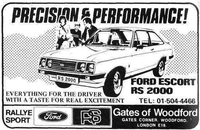 1977 ADVERT - FORD ESCORT MK2 RS2000 - GATES OF WOODFORD
