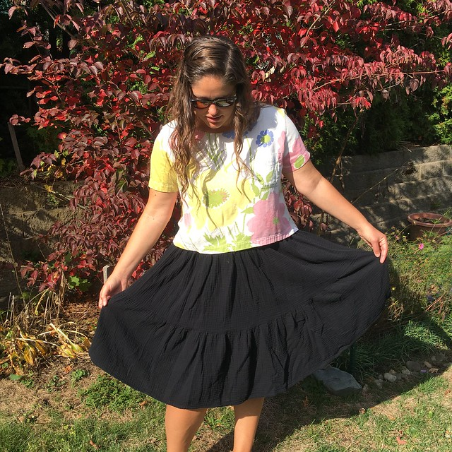A McCall's 8066 Summer Skirt in Black Double Gauze