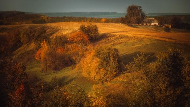 in autumn on an old farm