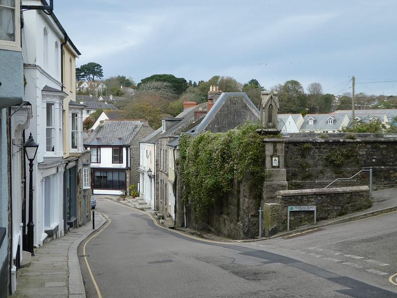 Quaint narrow streets of Helston in Cornwall