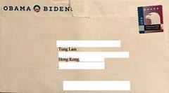 Obama Biden Campaign Committee envelope (some information obscured for privacy)