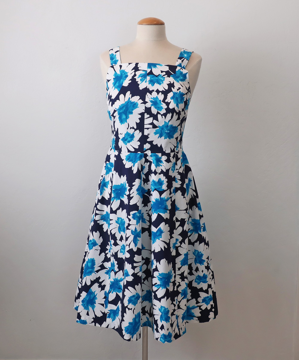 Burda blue white dress 3