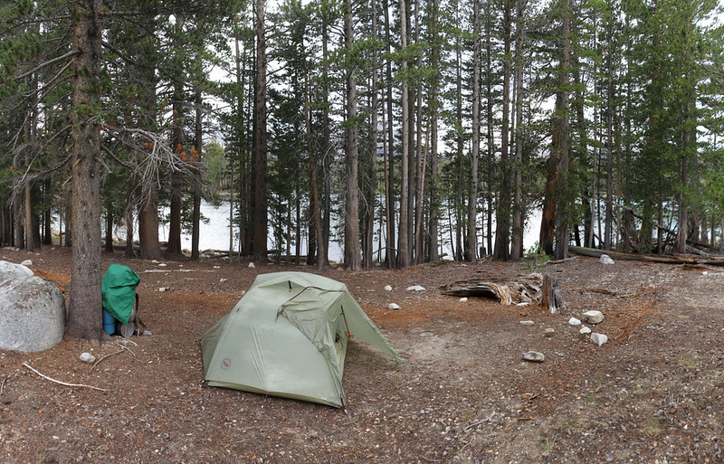 Our tent and campsite at Moraine Lake on the High Sierra Bypass Trail - we set it up in time to beat the rain