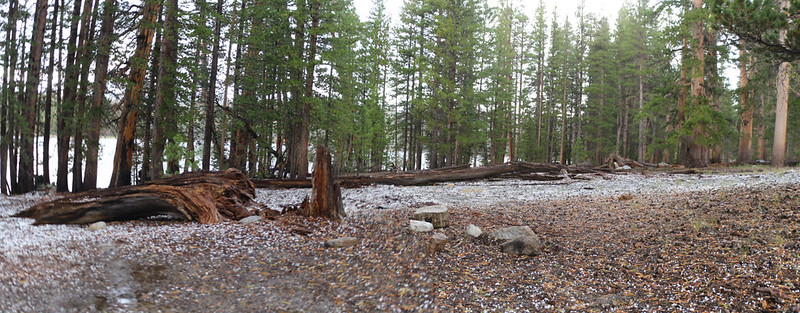 Hailstones covered the ground in our campsite at Moraine Lake
