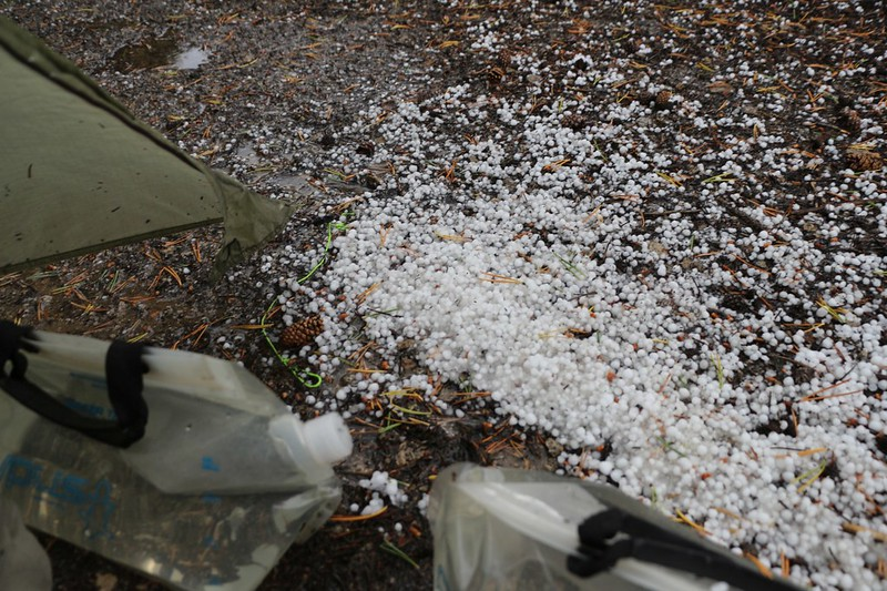 A pile of hailstones outside of our tent at Moraine Lake - this was the day that the California Fires of 2020 began