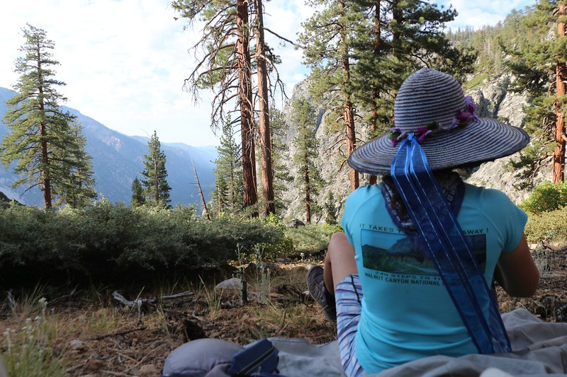 After three hours of strenuous hiking, Vicki took a well-deserved nap on the High Sierra Trail near Funston Creek
