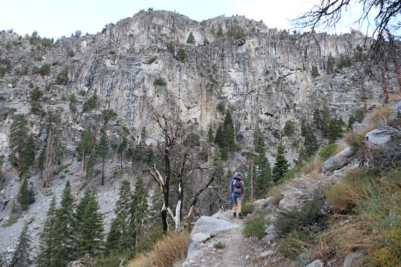 Climbing the switchbacks westward out of Kern Canyon along Funston Creek on the High Sierra Trail