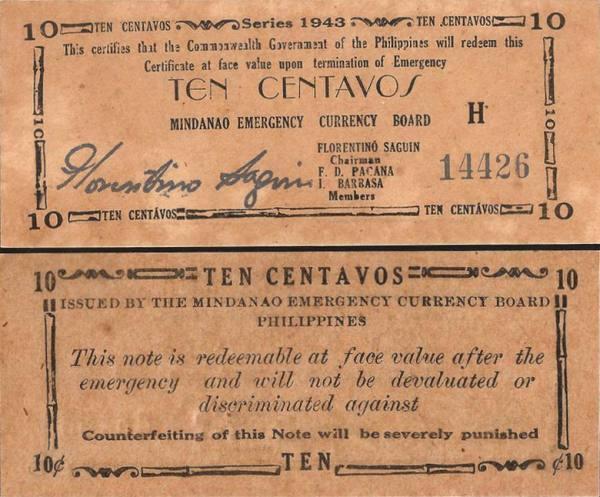 10 Centavos Filipíny 1943, S482b