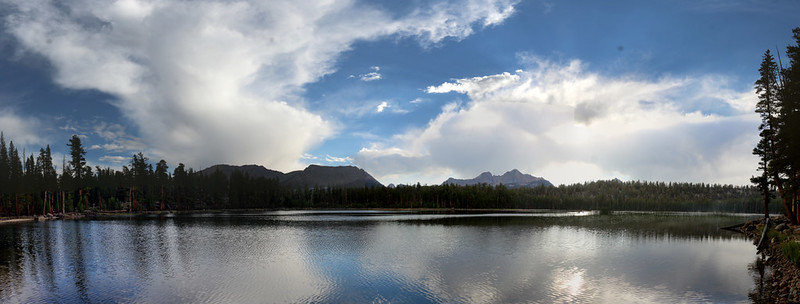 By 6pm the thunderheads had mostly broken up, leaving pretty clouds over the surface of Moraine Lake
