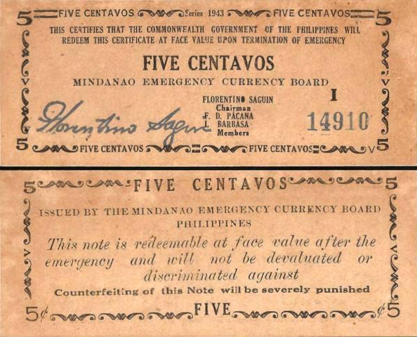 5 Centavos Filipíny 1943, S481b