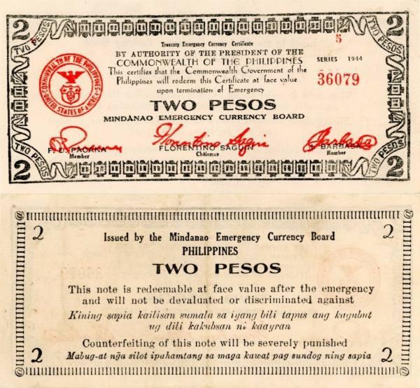 2 Pesos Filipíny 1944, S524b