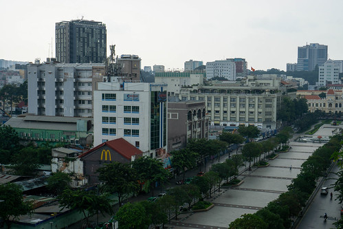 View of Nguyen Hue Walking Street and People's Committee of Ho Chi Minh City from The Cafe Apartment Building