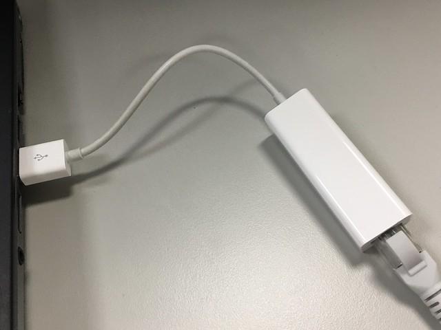 HP壞掉的網卡與後來接上的 USB ethernet adapter