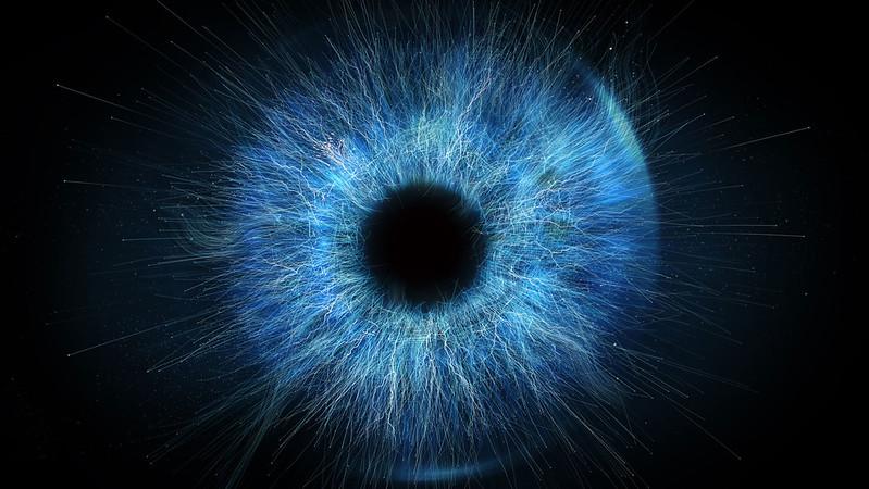 A close up photo of an iris of an eye
