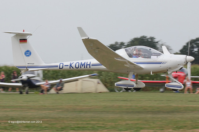 D-KOMH - 1998 build Diamond HK 36TTC 115 Super Dimona, arriving at Tannheim during Tannkosh 2013