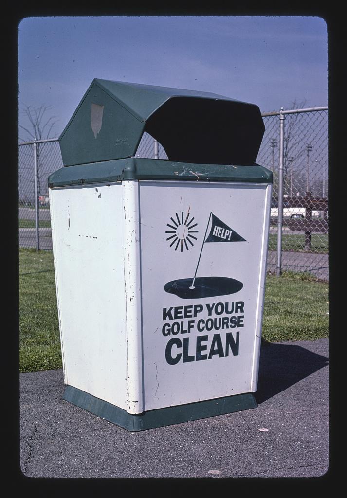 Trash can, Royal Oak miniature golf, Royal Oak, Michigan (LOC)