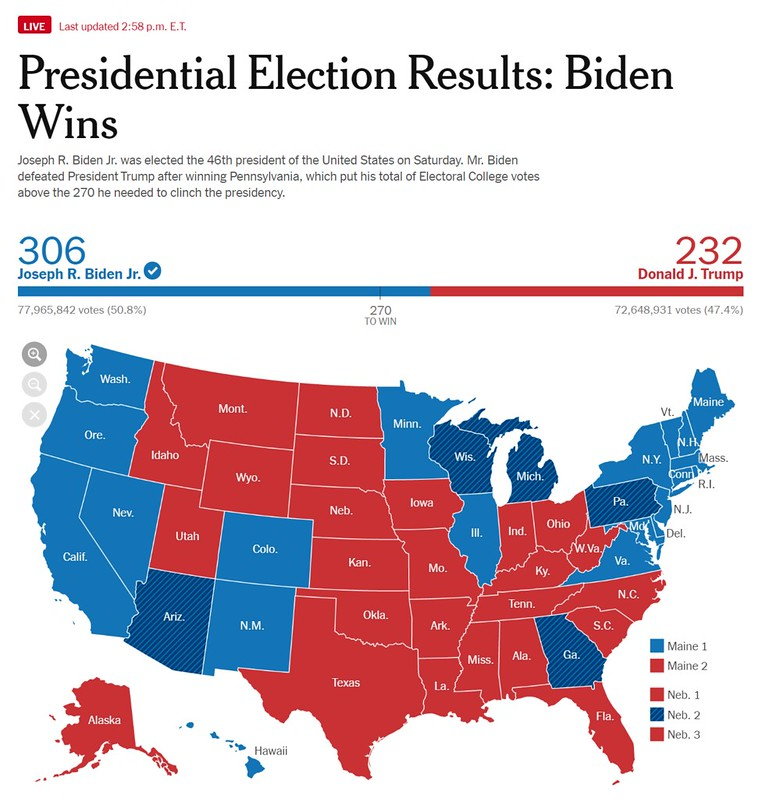 The NYT election results map, showing Biden with 306 electoral votes and Trump with 232.