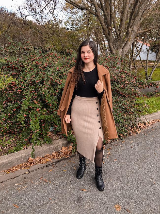 Comment porter la jupe longue fendue en hiver ?