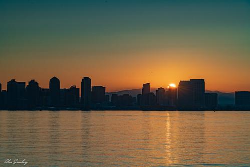"sandiego harbor sunrise d850 nikkor water clouds sun goldenhour nikon ""sandiego"" cityscape skyline downtown reflections waterfront ""highrise"" buildings cloud sky"