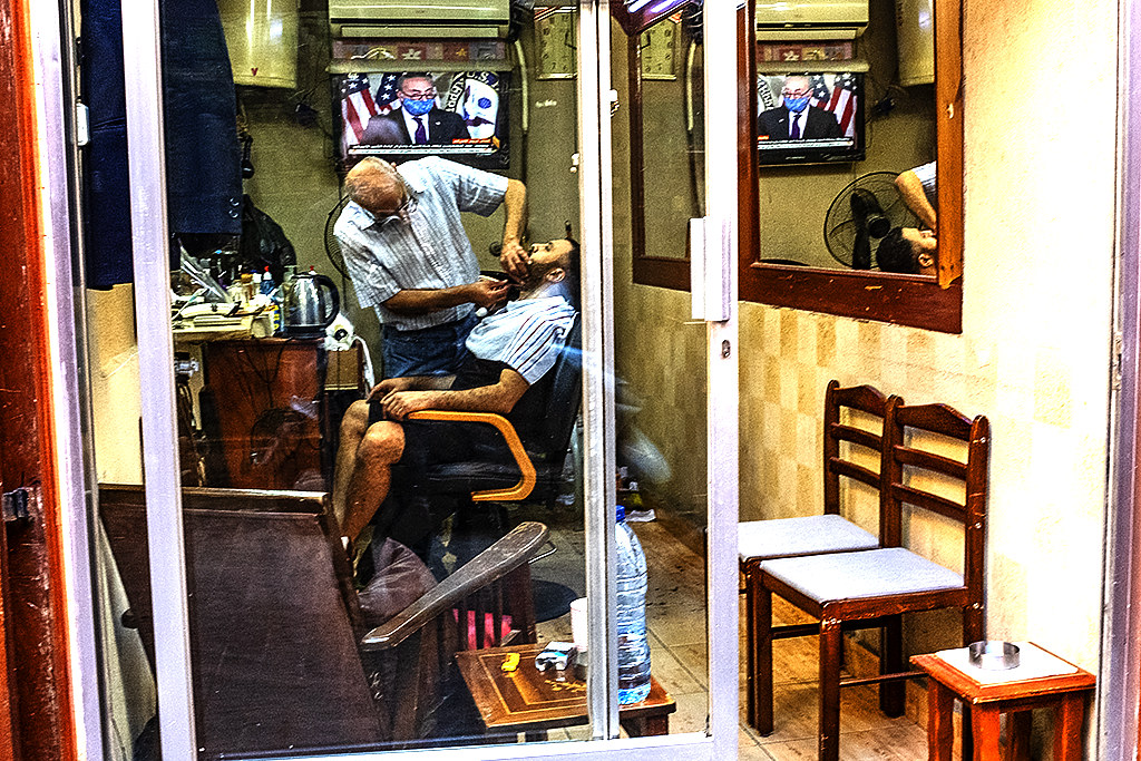 Barbershop in souq on 11-13-20--Sidon