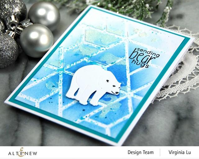 Altenew-MD Polar Bear-Geometric Landscape Stencil-Embossing Paste-Lagoon Card Stock-002