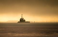 Through thick sea smoke