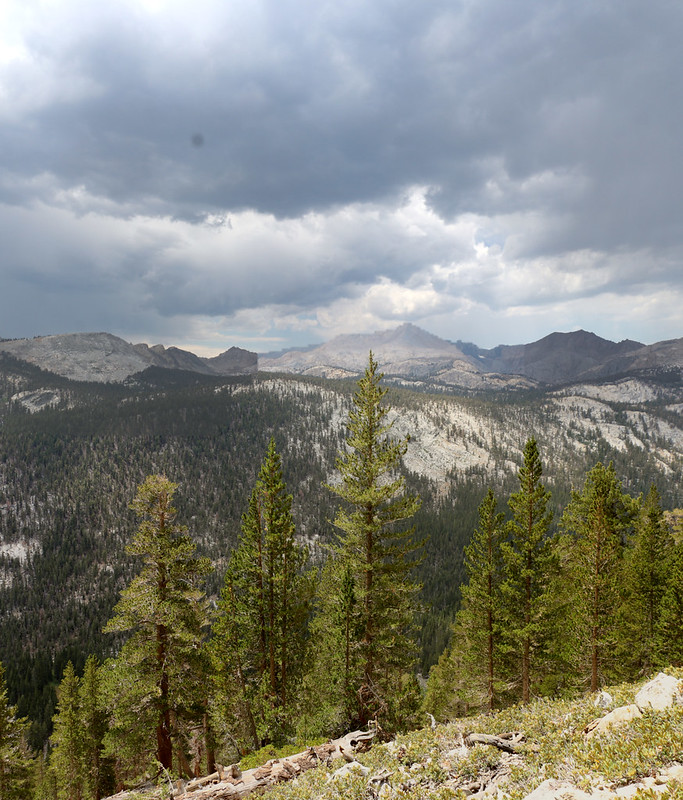 Looking across Big Arroyo as thunderheads and virga drift over the Great Western Divide, from the High Sierra Trail