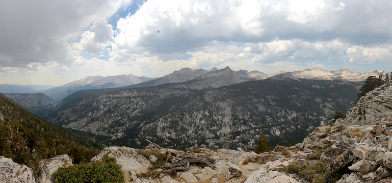 Panorama view of Big Arroyo, with Kern Canyon on the far left, from the High Sierra Trail