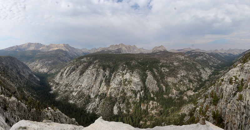 Wide panorama view to the west of Big Arroyo from the viewpoint spot on the High Sierra Bypass Trail
