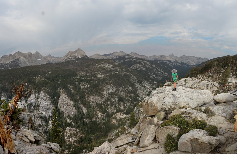 Panorama view west over Big Arroyo from the viewpoint north of Moraine Lake on the High Sierra Bypass Trail