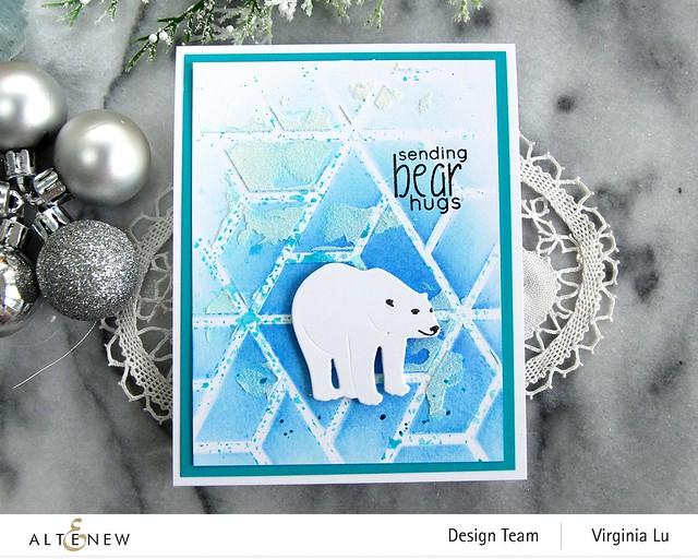 Altenew-MD Polar Bear-Geometric Landscape Stencil-Embossing Paste-Lagoon Card Stock-003