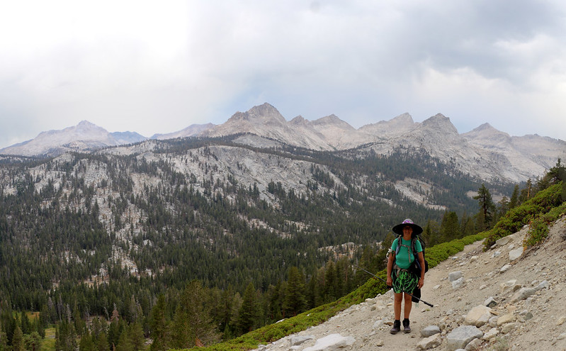 North Black Rock Pass Peak, Mount Eisen, and Lippincott Mountain over Big Arroyo from the High Sierra Trail