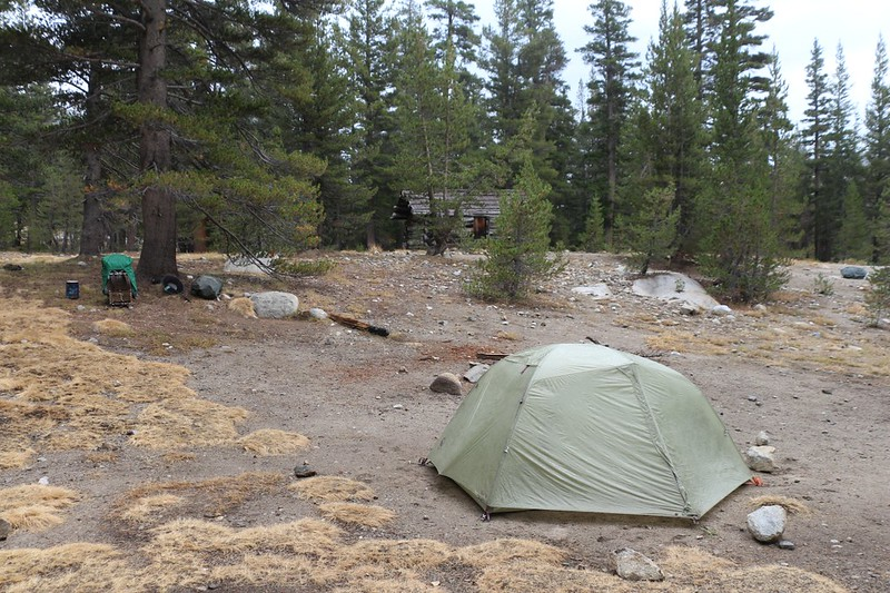 We set up our tent not far from the Old Big Arroyo Patrol Cabin at Big Arroyo Camp, just off the High Sierra Trail