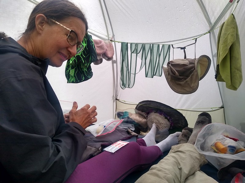 During a break in the rain, we got all of our gear into the tent and felt cozy and warm, at Big Arroyo Camp on the HST