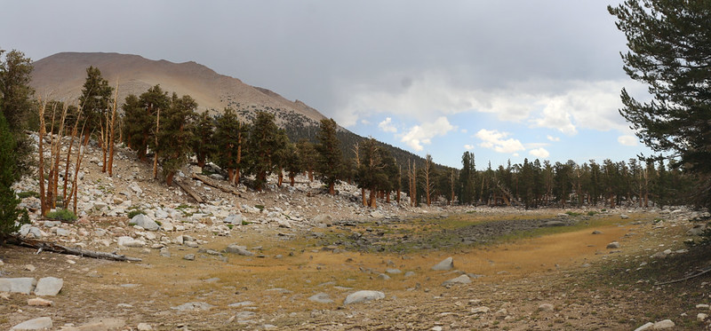 Dried-up seasonal pond, southeast of Mount Kaweah - the highest point of the day's hike