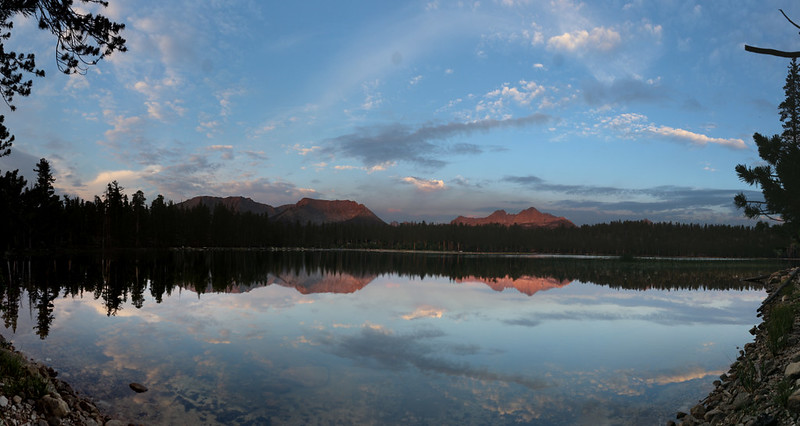 Dawn alpenglow panorama over Moraine Lake, looking west