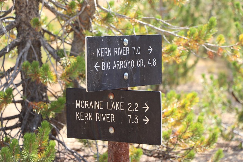 Trail sign showing that the Moraine Lake Bypass Trail is only a tiny bit longer than the HST - totally worth it!