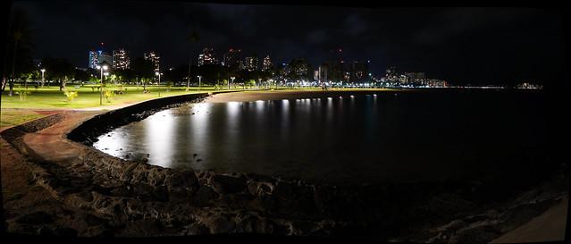 Magic Island Park and lagoon with Waikiki