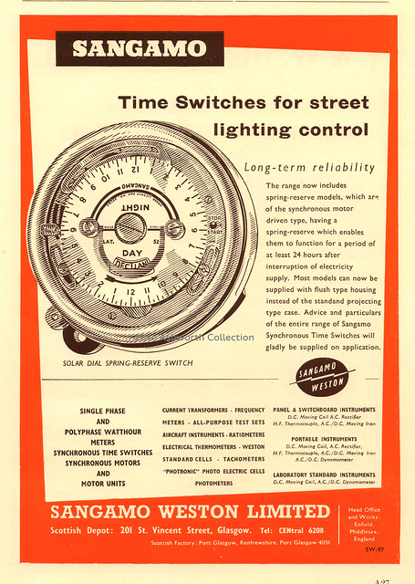 Sangamo time switches for street ligthing control : advert issued by Sangamo Weston Ltd, Enfield and Port Glasgow, 1963