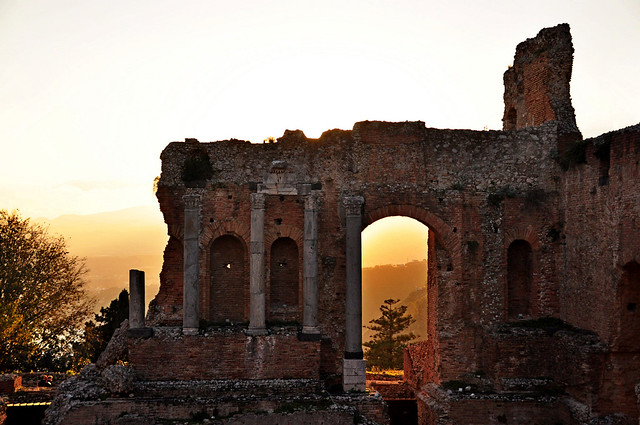 Sunset at Ancient Theatre of Taormina Sicily, Italy