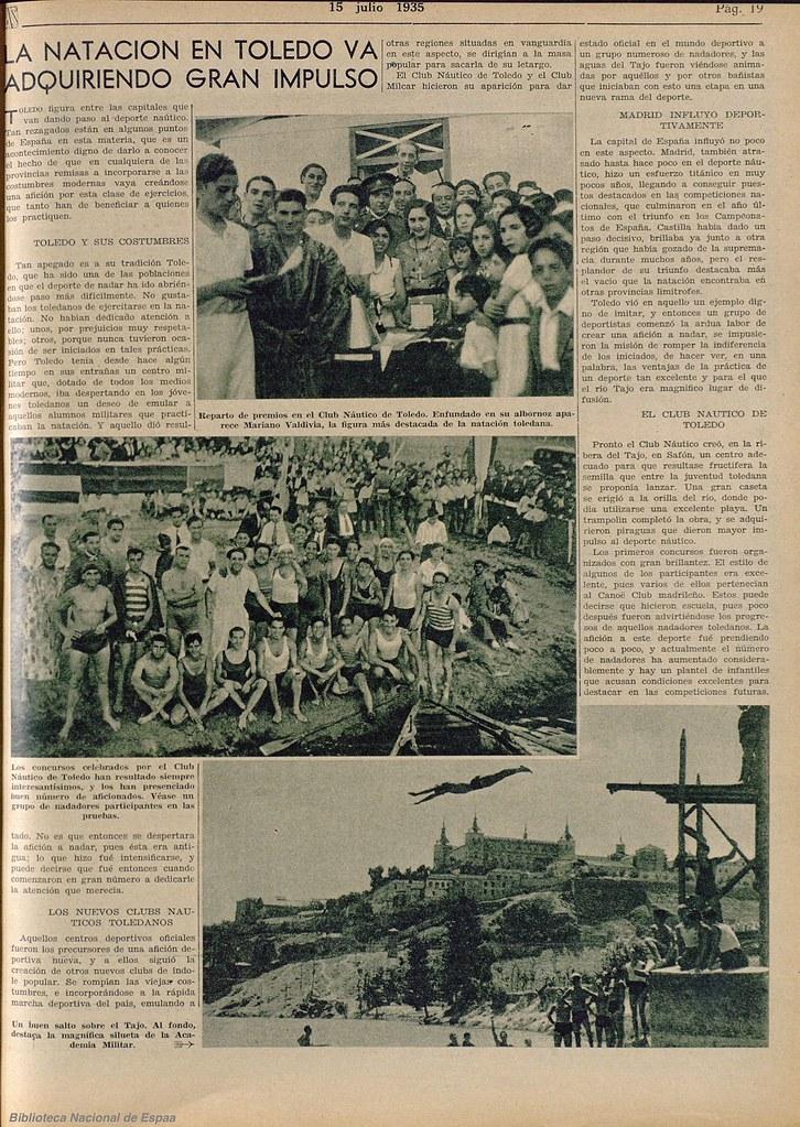 Reportaje sobre el Club Náutico de Toledo. Diario As, 15 de julio de 1935. Biblioteca Nacional de España.