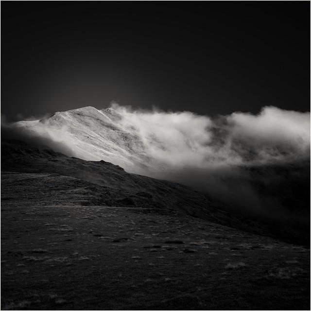 Mist rolling over Beinn Ghlas.