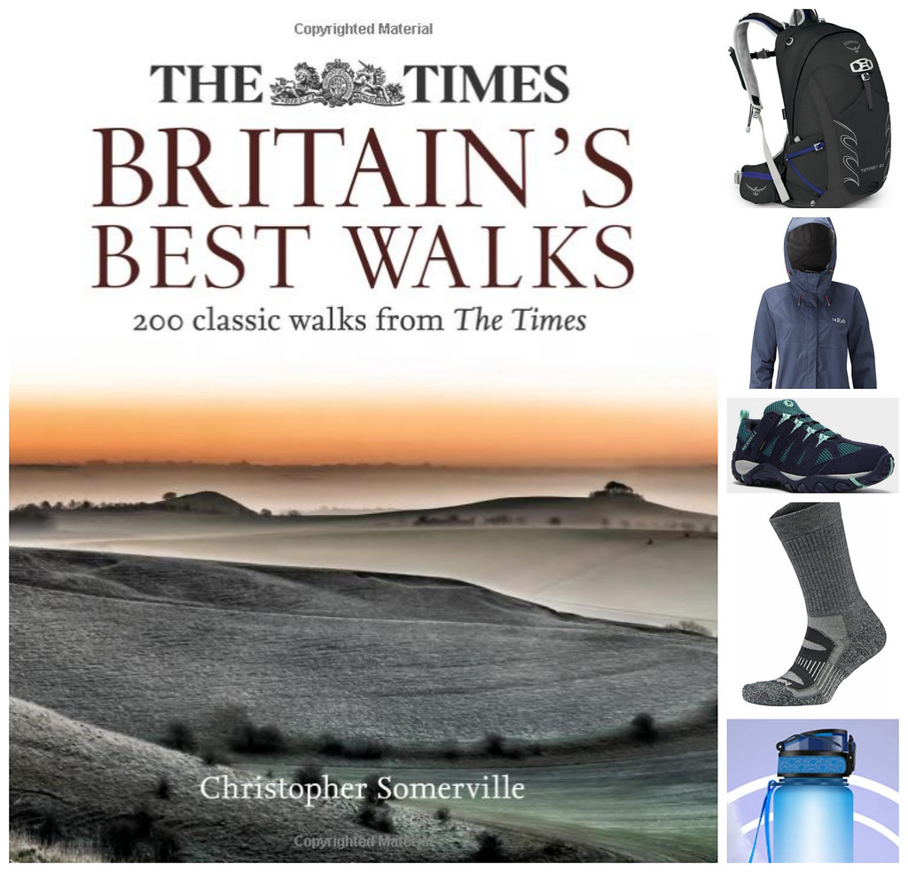 Hiking gear and Britain's Best Walks book