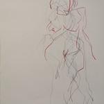 Akt Bleistift Aquarellstift auff Papier. 2020 30x427